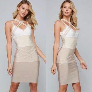 NWT Bebe Bandage Dress Beige Strappy Bodice Sz S